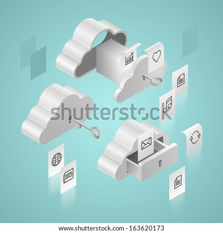 Cloud database computing infographics - stock vector