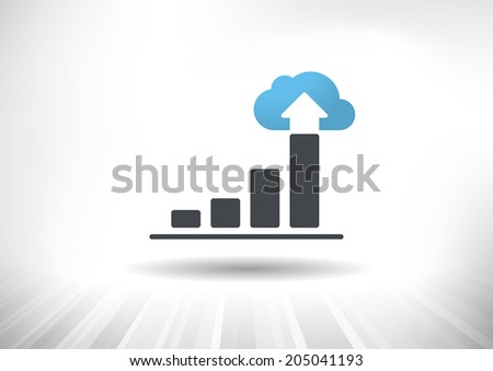 Cloud Economy. Cloud computing concept with rising bar chart and blue cloud ending the trend. Background and graph layered for easy customization. Fully scalable vector illustration. - stock vector