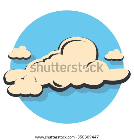 cloud flat icon in circle - stock vector