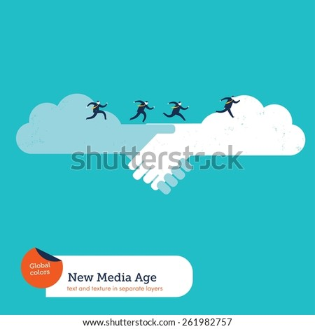 Cloud handshake and businessmen running on it. Vector illustration Eps10 file. Global colors. Text and Texture in separate layers. - stock vector