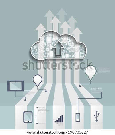 Cloud Hosting.Cloud Computing concept with Icon,social network group,infographic background - stock vector