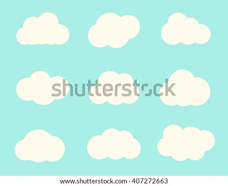 Cloud icon. Cloud icon flat. Cute white clouds. Vector illustration, eps 10 - stock vector