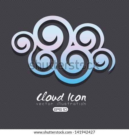 cloud icon over black background vector illustration - stock vector