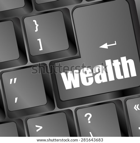 cloud icon with wealth word on computer keyboard key vector - stock vector