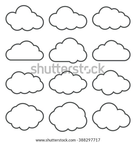 Cloud icons set. Vector thin line contours of a clouds. Black on white. Vector illustration. - stock vector