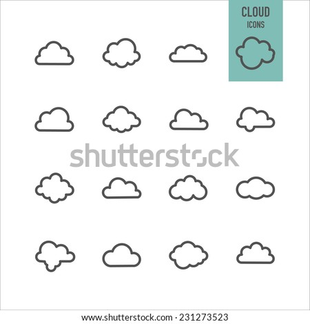 Cloud icons. Vector illustration. - stock vector