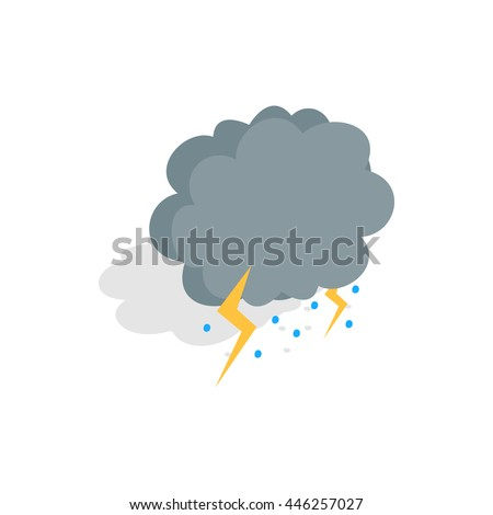 Cloud, lightning and hail icon in isometric 3d style on a white background - stock vector