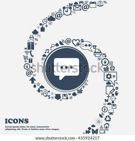 Cloud of thoughts icon sign in the center. Around the many beautiful symbols twisted in a spiral. You can use each separately for your design. Vector illustration - stock vector