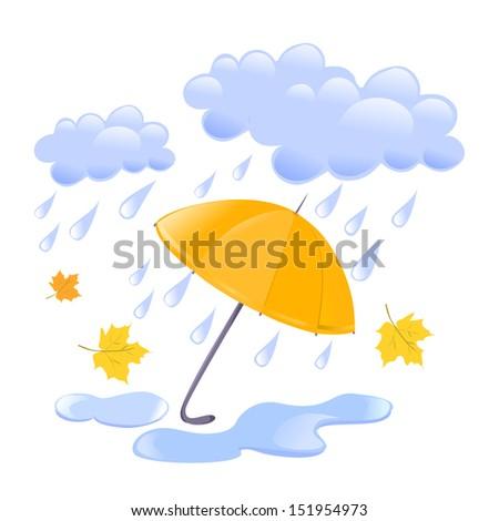 cloud, rain and umbrella. vector illustration - stock vector