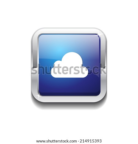 Cloud Rounded Corner Vector Blue Web Icon Button - stock vector