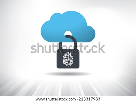 Cloud Security Concept. Cloud icon locked with biometric fingerprint padlock. Layered file for easy customization. Fully scalable vector illustration. - stock vector