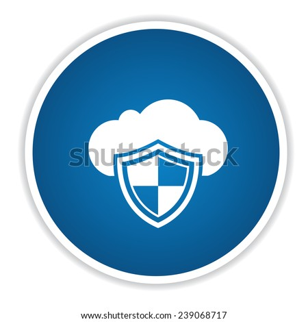Cloud security icon on blue button,clean vector - stock vector
