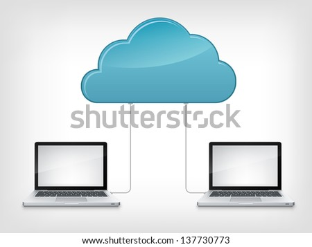 Cloud Service Concept Isolated on grey Gradient  Background. Vector Illustration EPS 10. - stock vector