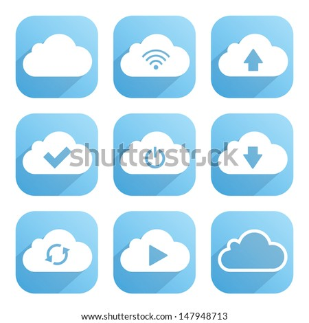 Cloud service icons set  with shadow on white background. Vector illustration for your business. - stock vector