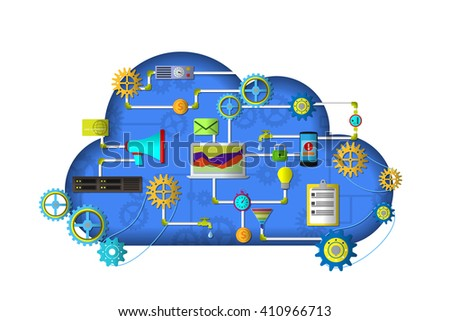 Cloud services device computer tablet phone. Web and application development banner with icons. Management digital marketing startup planning analytics creative team design - stock vector