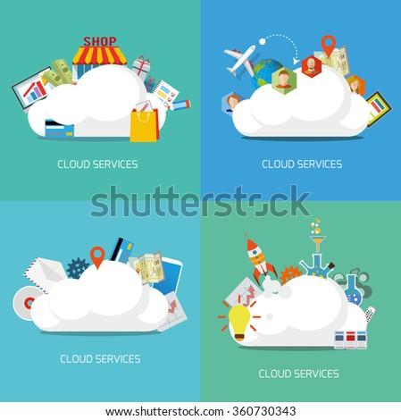 Cloud services flat concept. Set of Vector illustrations. - stock vector