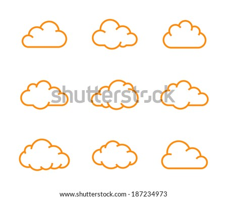 Cloud shapes collection. Cloud icons for cloud computing app. Vector illustration - stock vector