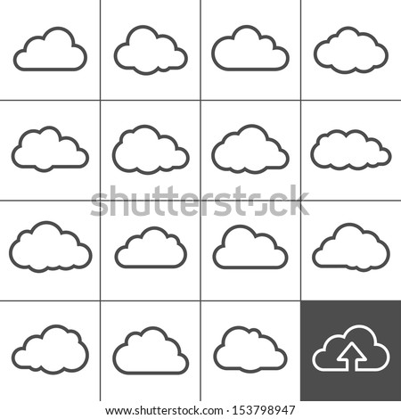 Cloud shapes collection. Cloud icons for cloud computing web and app. Simplus series - stock vector