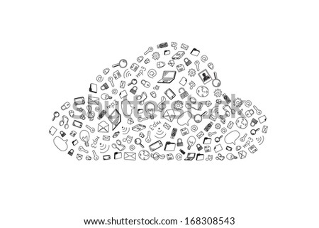 Cloud, Social network - stock vector