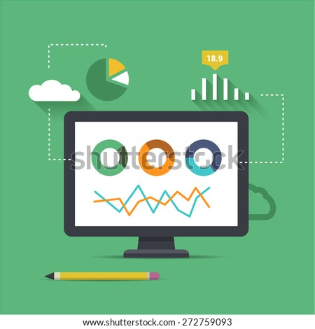 cloud software for analytics and seo optimalization - stock vector