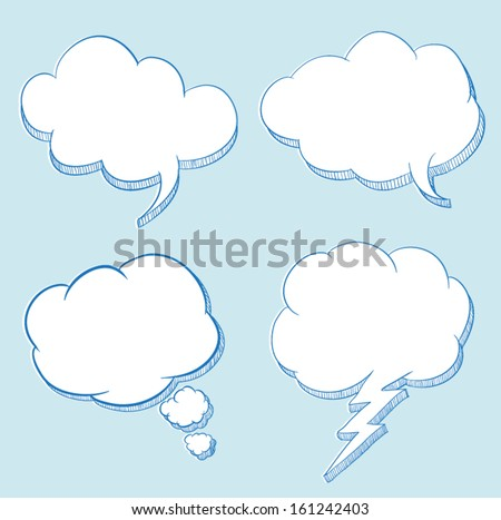 Cloud speech hand drawing illustration / can use for frame text / promotion. - stock vector