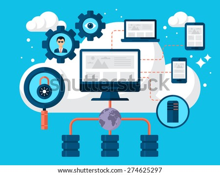 Cloud storage concept design with flat modern icons - stock vector