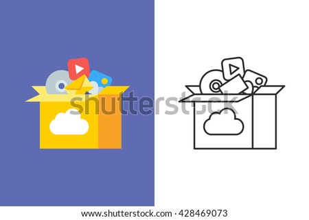 Cloud storage flat and line style vector icon - stock vector