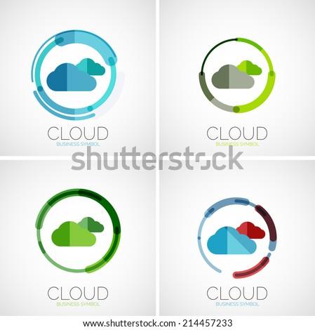 Cloud storage, flat design company logo, business symbol concept, minimal line style - stock vector