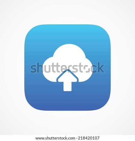 Cloud storage upload icon button, vector illustration. Simple flat metro design style. esp10 - stock vector