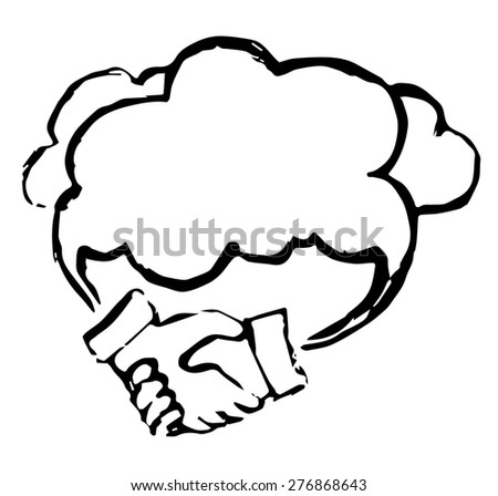 Cloud support concept. Business vector. Black and white illustration.  - stock vector