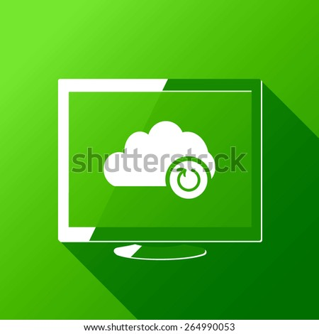 Cloud synchronization icon - vector web illustration. Desktop. Flat style design with long shadow - stock vector