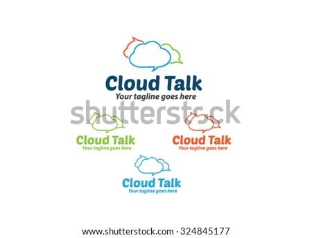 Cloud Talk - Cloud Icon Logo - stock vector