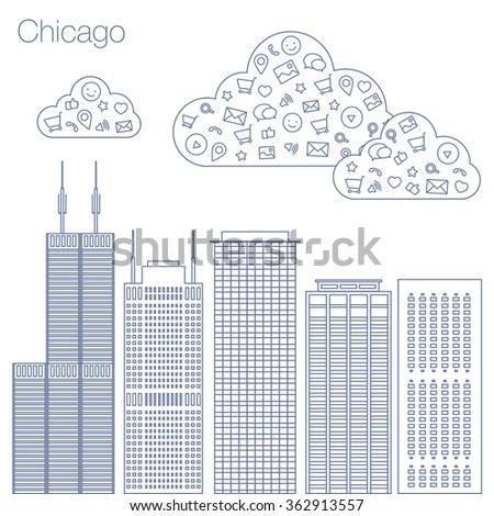 Cloud technologies and services in the world wide web. Hackathon, workshop, seminar, lecture in the metropolis Chicago. The city is in a flat style for presentations, posters, banners. - stock vector