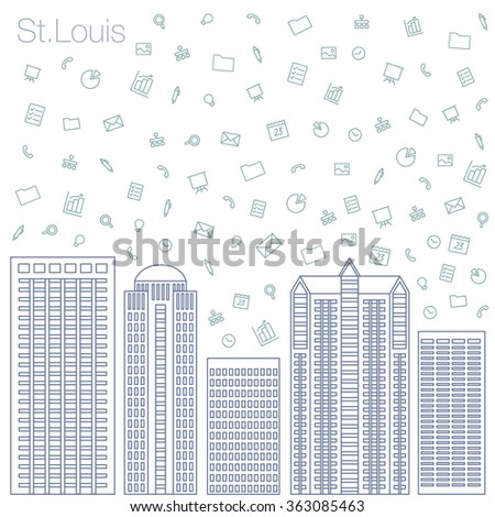 Cloud technologies and services in the world wide web. Hackathon, workshop, seminar, lecture in the metropolis St.Louis. The city is in a flat style for presentations, posters, banners. - stock vector