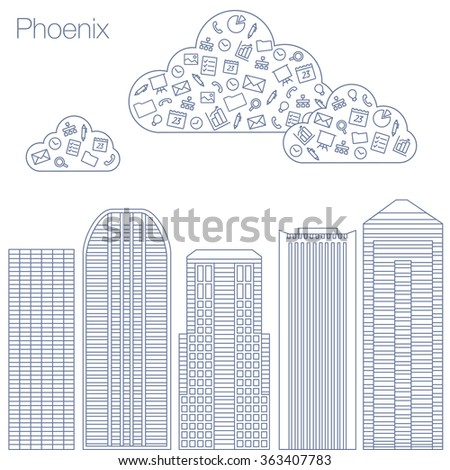 Cloud technologies and services in the world wide web. Hackathon, workshop, seminar, lecture in the metropolis Phoenix. The city is in a flat style for presentations, posters, banners. - stock vector