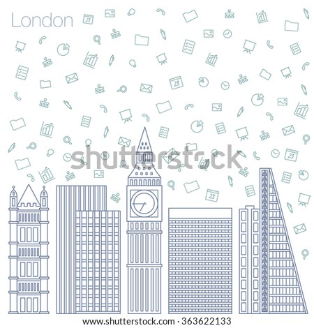 Cloud technologies and services in the world wide web. Hackathon, workshop, seminar, lecture in the metropolis London. The city is in a flat style for presentations, posters, banners. - stock vector