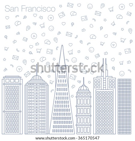 Cloud technologies and services in the world wide web. Hackathon, workshop, seminar, lecture in the metropolis San Francisco. The city is in a flat style for presentations, posters, banners. - stock vector