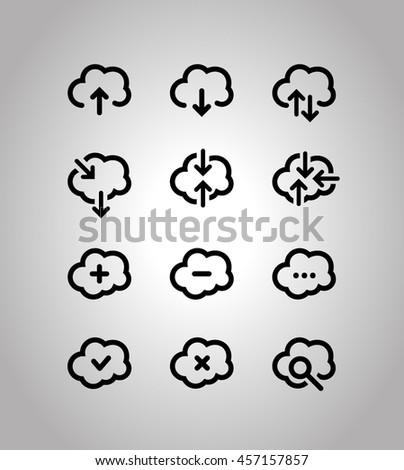 Cloud technologies icons set - stock vector