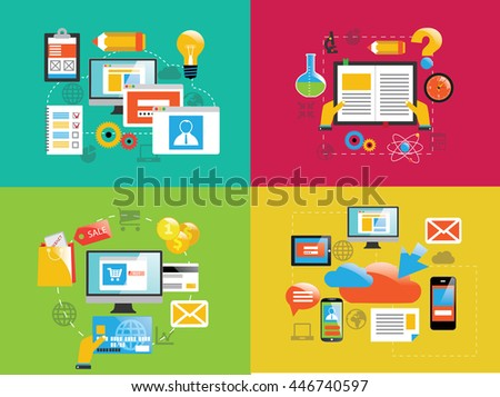 Cloud  technology e-commerce and devices in flat design - stock vector