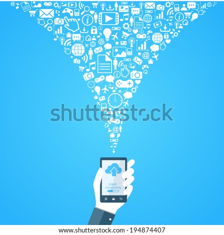 Cloud technology flat design illustration  eps10 - stock vector