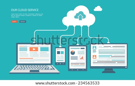 Cloud technology flat illustration. Eps10 - stock vector