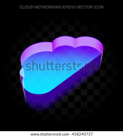 Cloud technology icon: 3d neon glowing Cloud made of glass with transparent shadow on black background, EPS 10 vector illustration. - stock vector