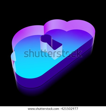 Cloud technology icon: 3d neon glowing Cloud With Keyhole icon made of glass with reflection on Black background, EPS 10 vector illustration. - stock vector