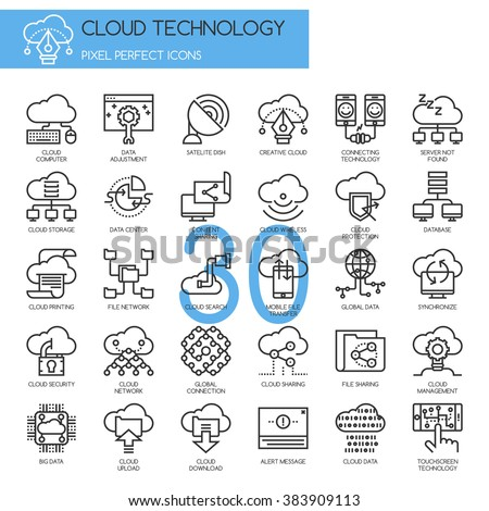 Cloud Technology , Pixel perfect icons , Thin line icons set - stock vector