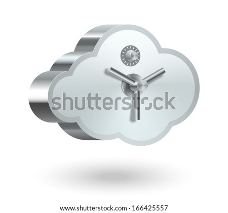 Cloud technology security isolated vector illustration - stock vector