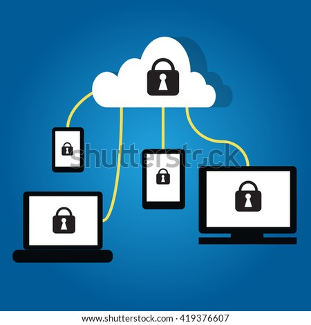 Cloud technology with security lock symbol on devices  such as PC ,Tablet,smartphone and cloud server cloud.lock  phone.lock notebook.lock tablet.lock pc.lock computer.lock security.lock cloud.lock - stock vector