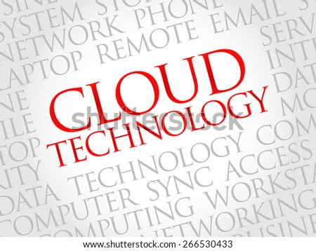 Cloud Technology word cloud concept - stock vector
