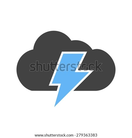 Cloud, thunder, bolt icon vector image. Can also be used for energy and technology. Suitable for web apps, mobile apps and print media. - stock vector