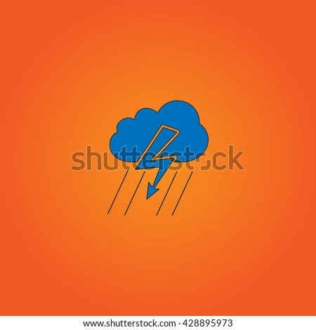 Cloud thunderstorm lightning rain. Blue flat icon with black stroke on orange background. Collection concept vector pictogram for infographic project and logo - stock vector