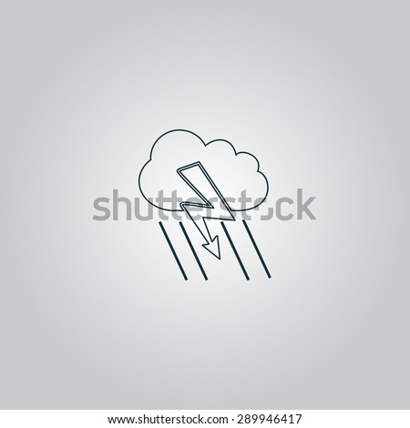 Cloud thunderstorm lightning rain. Flat web icon or sign isolated on grey background. Collection modern trend concept design style vector illustration symbol - stock vector